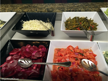 Cabbage, Beet Salad, Green Bean Salad and Tomato Salad